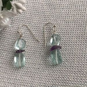 Aquamarine and Amethyst beads with SS hooks.